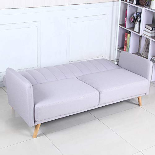 Sofá Cama 3 plazas Clic Clac Damas Gris tapizado con Tela 100% Poliéster, Patas de Madera