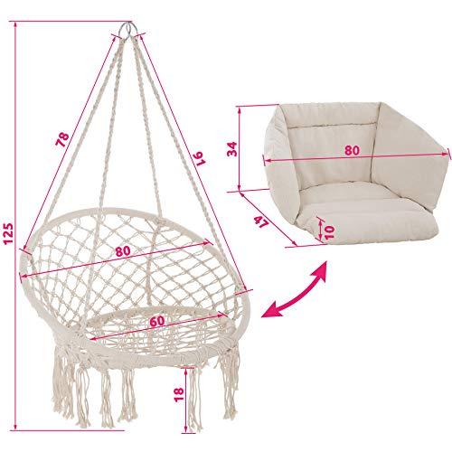 TecTake 800708 Silla Colgante, Interior & Exterior, Diámetro Asiento 60 cm, Robusto, Incl. Cojin Grande y Mullido (Beige   No. 403205)