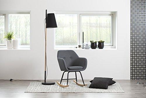 AC Design Furniture Mecedora, Tela, Gris Oscuro, 71 x 57 x 81 cm