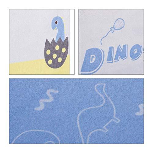 Relaxdays Caja Juguetes Plegable Dinosaurio, Puff Almacenaje Infantil 20 l, Poliéster-DM, 31 x 32 x 32 cm, Amarillo-Azul
