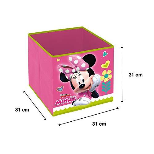 Superdiver Cubo Organizador Plegable de Tela Disney Minnie Mouse para Niña - Caja de Almacenaje para Juguetes Compatible con Kallax de IKEA para Dormitorio Infantil - 31x31x31 cm