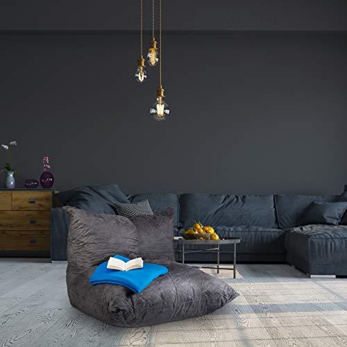 Relaxdays Puff Cuadrado XXL con Relleno, Poliéster, Gris Oscuro, 75 x 100 x 90 cm
