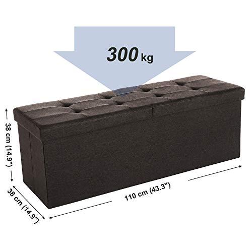 SONGMICS Baúl Puff Taburete para Almacenaje Plegable, Carga Máxima de 300kg, Textil Lino, 110 x 38 x 38 cm, Marrón Oscuro LSF77Q