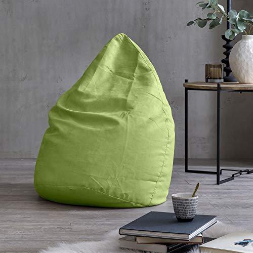 Lumaland Beanbag PUF otomano sillón Niño Puff XL Comfortline 120 lt Costuras reforzadas Verde