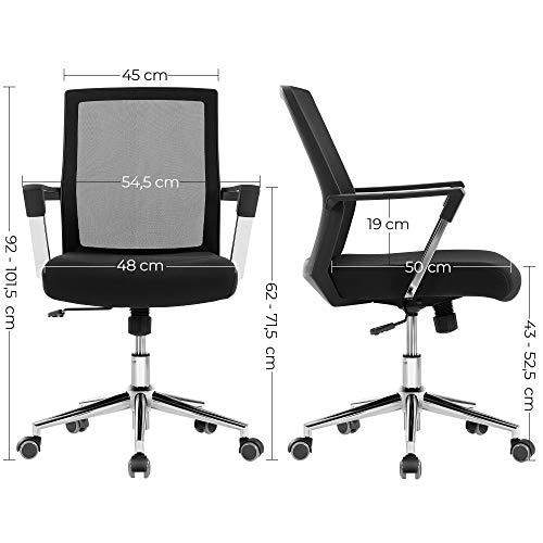 Songmics Silla giratoria de Oficina, Altura Ajustable, Negro, 60 x 57.5 x 30 cm