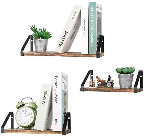 Nandae Juego de 3 Estantes flotantes rústicos, Decorativos estantes de Almacenamiento para Montar en la Pared para Dormitorio, Sala de Estar, Cocina, baño