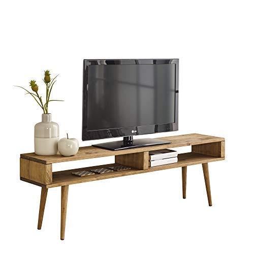 Mesa televisión, Mueble TV salón diseño Vintage 2 Huecos, Madera Maciza Natural, fabricación Artesanal. 140 cm x 40 cm x 30 cm