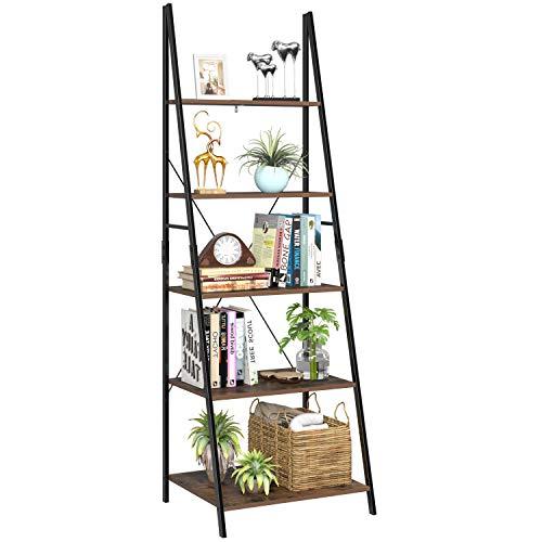 Homfa Estantería Escalera Librería de Pared Estantería Metálica para Salón Terraza Dormitorio con 5 Niveles Vintage y Negro 60x50.3x180.5cm