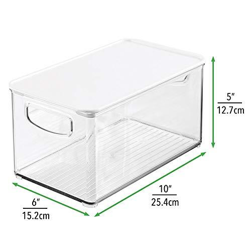 mDesign Organizador de juguetes – Juguetero grande con tapa de plástico robusto – Caja organizadora apilable para guardar juguetes y manualidades en la habitación infantil – transparente y blanco