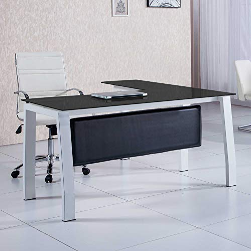 Adec - Blake, Mesa de Despacho, Mesa de Oficina o Escritorio, Estructura metálica Acabado en Color Blanco y Cristal Templado Color Negro, Medidas: 150 cm (Largo) x 70 cm (Ancho) x 74,5 cm (Alto)