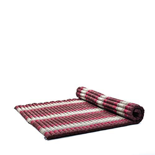 Leewadee colchoneta tailandesa Enrollable XL – Futón para masajes Grueso, colchón para Dormir, Alfombrilla de kapok Natural, 200 x 145 cm, marrón Rojo