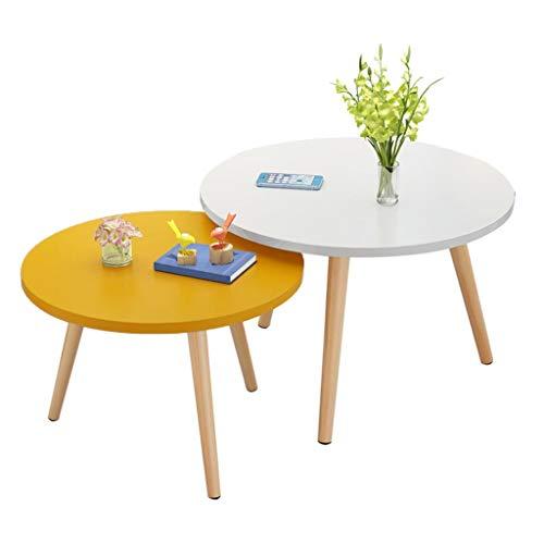 Mesa de té de Madera, pequeño apartamento Sala de Estar sofá mesita combinación pequeña Mesa Redonda Tienda de Ropa Hotel decoración Ocio Mesa de Lectura Mesa de negociación,Yellow