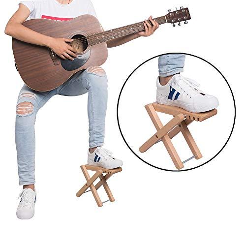 Rayzm Reposapiés para guitarra , Pie Plegable para Guitarra Clásica con 4 Alturas Ajustables, Pedal Sólido de Madera para Guitarra y Banjo