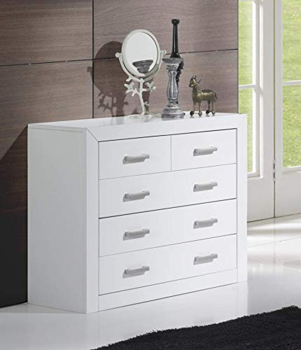 Dogar Kynus Lacado - Comoda con 4 cajones, 80.1 x 93.2 x 38.3 cm, madera, color blanco