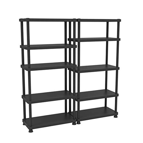 Terry, Scaffale 9045/5c, Estantería Modular con 5 Estantes. Color: Negro, Material: Plástico, Dimensiones: 90x45x187,5 cm
