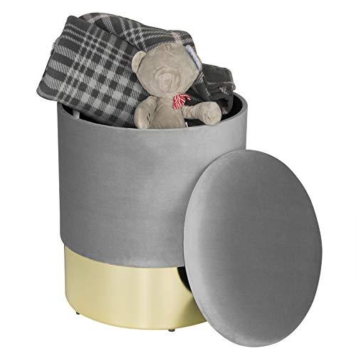 WOLTU Reposapiés Sofá Taburete Baúl Puff Redondo Caja de Almacenamiento Almacenaje Asiento para Dormitorio con Funda de Terciopelo, Tapa Extraíble 36x36x44 cm Gris Claro SH50hgr