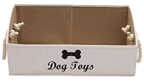 Xbopetda Cajas de Almacenamiento para Juguetes de Perro Grandes – Cajas organizadoras trapezoidales de Tela Plegable con Mango de Cuerda de algodón, Cesta Plegable para Perro