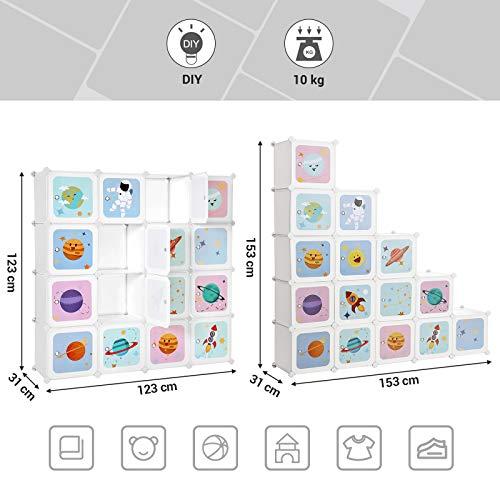 SONGMICS Armario Modular Infantil de 16 Cubos, Organizador Modular para Niños, Estantes de Cubo de Plástico, con Puertas, para Ropa, Zapatos, Juguetes, 123 x 31 x 123 cm, Blanco LPC902W