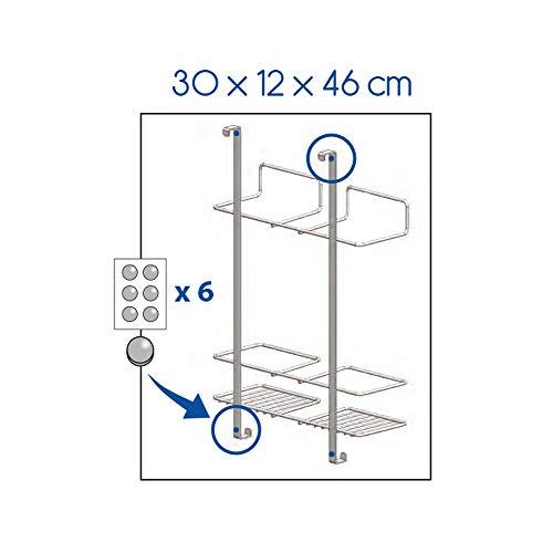Metaltex Broomy Colgador de Puerta para Escoba y Accesorios de Limpieza, Polytherm, Plata, 30x12x46 cm