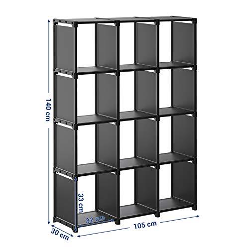 SONGMICSCubos de Almacenamiento, Librería con12Compartimentos, ArmarioModular,para Salón, Dormitorio, Baño, 105 x 30 x 140 cm, Martillo deGomaIncluido, Negro LSN12BK