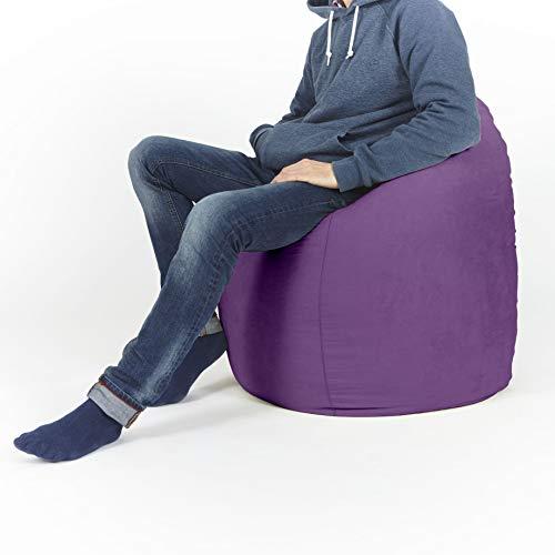 Lumaland Beanbag PUF otomano sillón Niño XL Comfortline 120 lt Costuras reforzadas Purpura