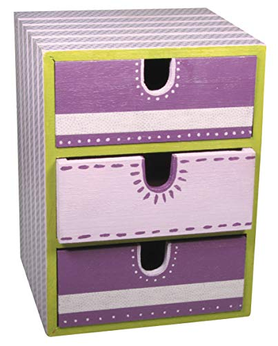 Rayher Hobby 62382000 - Cómoda de madera con 3 cajones, madera natural, 21,5 x 14,5 x 16 cm