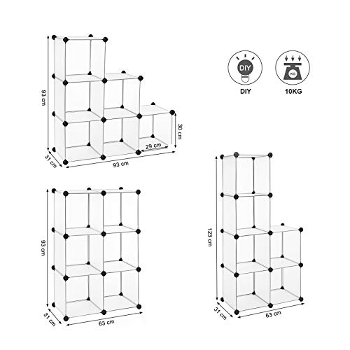 SONGMICS Armario Modular, Plástico PP, Estantería Modular, Organizador para Ropa, Zapatos, 93 x 93 x 31 cm, LPC111S
