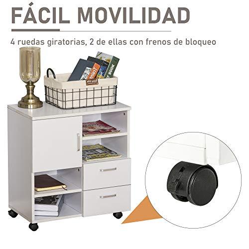 HOMCOM Mesa Armario movil Mueble TV Madera + cajones y Puerta Consola Comedor cajonera