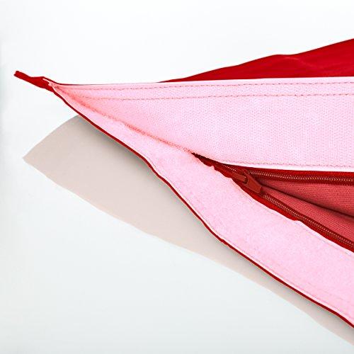 Lumaland PUF otomano Puff XXL 140 x 180 cm 380l con Relleno Innovador Maxi Puff en algodón para Interiores Rojo