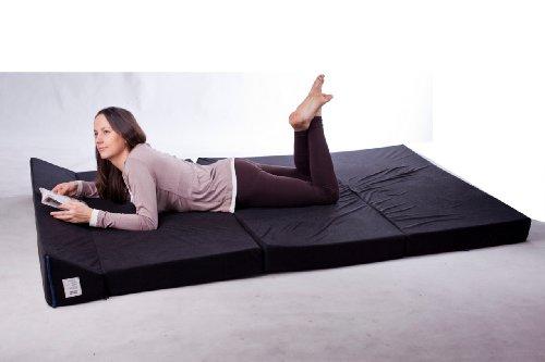 Natalia Spzoo Colchón plegable cama de invitados forma de sillón sofá de espuma 200 x 120 cm (Marrón 1021)