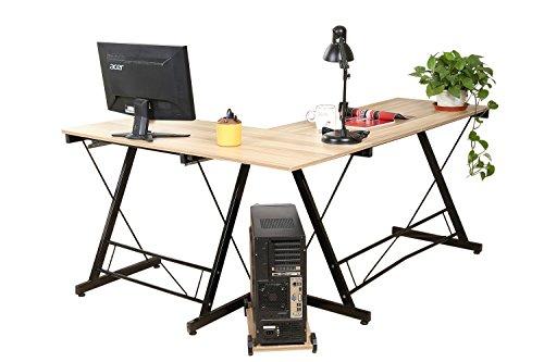 hlc Escritorio de Esquina, Mesa de Ordenador en Forma L, Escritorio de Oficiana, Mesa de Estudio, con Bandejas de CPU y Teclado, MDF+Acero, 161 * 120 * 73 cm Amarillo