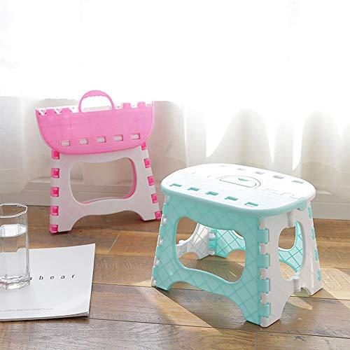 Taburete plegable de plástico para exteriores, portátil, taburete de pesca para cocina, baño, inodoro (azul)