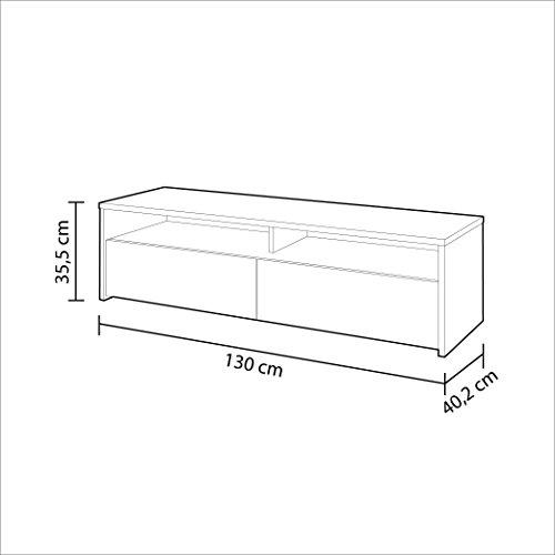 Habitdesign 0F6626A - Mueble de Salon, modulo de Comedor Kioto, Acabado Color Blanco Artik y Roble Canadian, Medidas: 130 x 35,5 x 40,2 cm de Fondo.