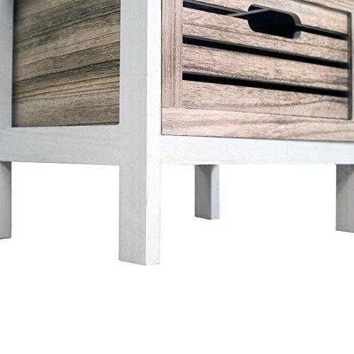Rebecca Mobili Mesita de Noche con 3 cajones, cómoda Vintage, Madera, Gris Blanco, Country Shabby, Cuarto de baño - Medidas: 65 x 36,7 x 28,8 cm (AxANxF) - Art. RE4185