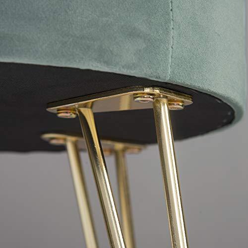 eSituro Taburete de Asiento Caja de Almacenamiento Reposapiés Banco Cubo de Asiento Silla de Terciopelo Puff Retro, Tapa Extraíbles y Patas de Metal 31.5x31.5x36cm Turquesa SOM0107