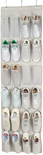 AmazonBasics - Organizador de zapatos de tamaño mediano para 24 zapatos, para colgar sobre puertas