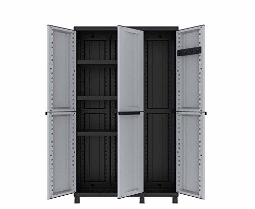 Terry Twist Black 102a Armario multifunción de 3 Puertas con Dos Separados desarollo Horizontal con 3 estantes y un Compartimento con desarrolo en Vertical, Gris/Negro, 102x39x170 cm