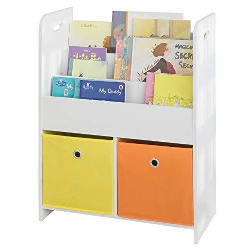 SoBuy KMB27-W Librería estándar Infantil Organizador de Juguetes y Libros para Niños 58 * 27 * 76 cm ES