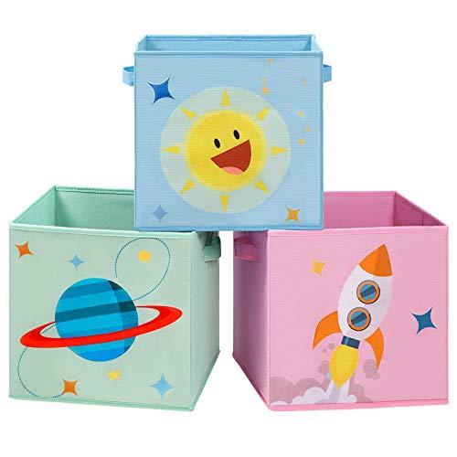 SONGMICS Cajas de Almacenaje, Juego de 3, Organizadoras de Juguetes, Cubos Plegables con Asas, para Habitación de Niños, Sala de Juegos, 30 x 30 x 30 cm, Tema del Espacio, Azul, Verde y Rosa RFB001Y03