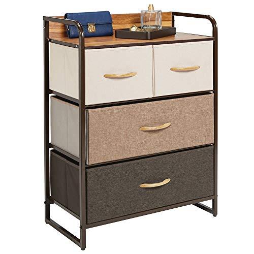 mDesign Cómoda para dormitorio con 4 cajones – Mueble con cajones ancho para el salón, la habitación o el pasillo – Cajonera de metal, MDF y tela para guardar ropa – varios colores y marrón