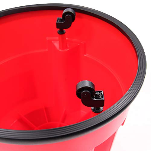 hjh OFFICE 830004 taburete escalera TIO-S plástico rojo taburete con ruedas cocina hogar oficina