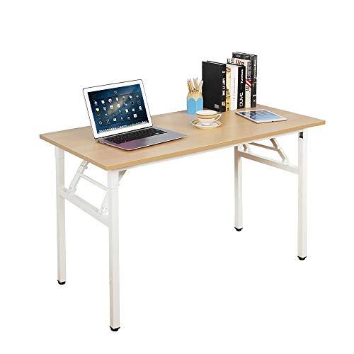 Need Mesa Plegable 120x60cm Mesa de Ordenador Escritorio de Oficina Mesa de Estudio Puesto de trabajo Mesas de Recepción Mesa de Formación, Burlywood color & Blanco pata