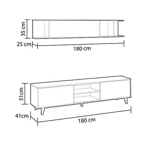 Mueble de salón, Comedor, Módulo TV + Estante, Modelo Zaiken Plus, Color Blanco Brillo y Roble Canadian, Medidas: 180 cm (Ancho) x 54 (Alto) x 41 cm (Fondo)