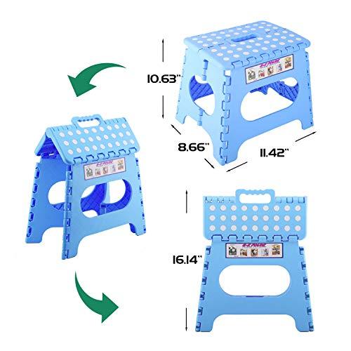 Housolution Taburete Plegable, Taburete Plegable Portátil con Asiento Compacto con Superficie Antideslizante para el Baño en Casa, Cocina, Jardín, Uso de Niños Adultos - Azul