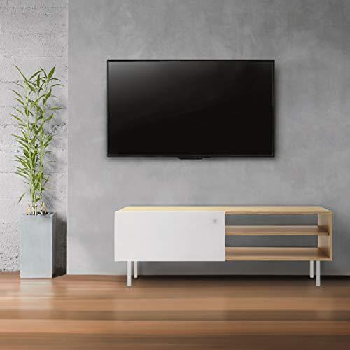 Mc Haus ODEIL- Mueble TV madera Natural salón, Diseño estilo Nórdico Mesa Televisión Comedor con 1 puerta, 2 compartimentos de Almacenaje y patas de madera 110x35x40cm