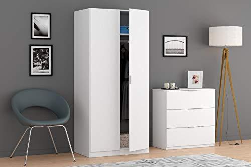 Armario Ropero 2 Puertas, Armario Habitación, Dormitorio, Modelo Low Cost, Acabado en Color Blanco Mate, Medidas: 81 cm (Ancho) x 180 cm (Alto) x 52 cm (Fondo)