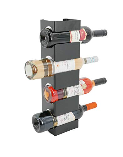 tradeNX - Botellero en diseño moderno, con espacio para cuatro botellas, en metal, color negro