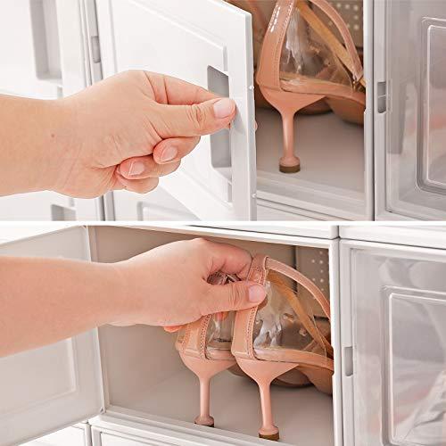 SONGMICS Cajas de Zapatos, Juego de 18 Organizadores de Plástico para Almacenamiento de Zapatos, Apilables y Plegables, hasta Talla 44, 9 Cubos Transparentes y 9 Cubos Blancos LSP009W01