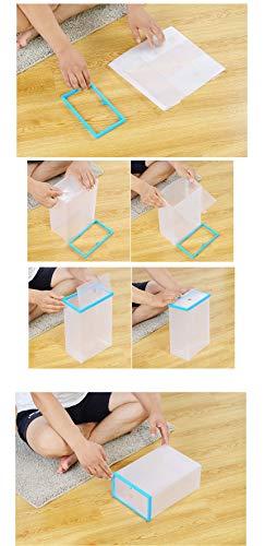 Sinbide 10 x Cajas de Zapatos Transparente Plástico, Organizador de Zapatos para Hombres y Mujeres, Impermeable, Ahorro de Espacio, Plegable 34 * 22 * 13cm (Blanco)