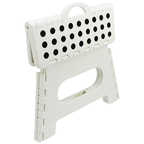 com-four® Pata Plegable con perillas de Goma, Taburete Plegable portátil en Blanco, Capacidad de Carga de hasta 150 kg, 31 x 22 x 22 cm (31 x 22 x 22 cm Blanco - 01 Piezas)